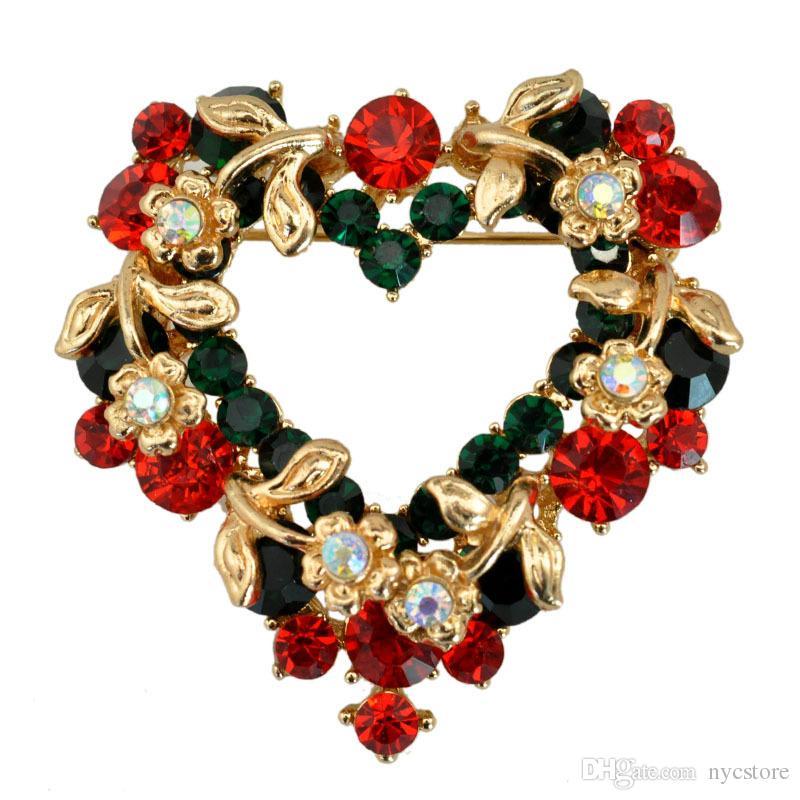 Modeschmuck Weihnachten Brosche Strass Kristall Broschen Jeweled Glocke Schneemann Deer Brosche Und Pin Kleidung Dekor Weihnachtsgeschenke