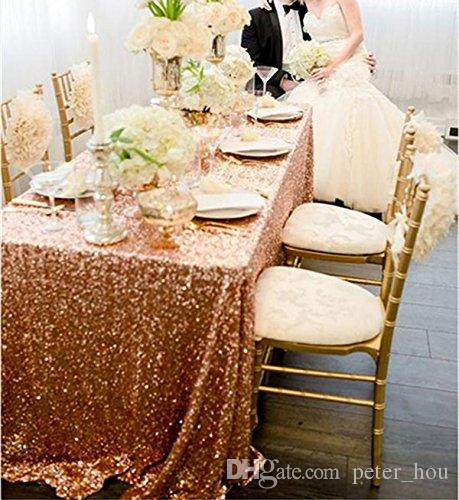 90x132 inch rose gold sequin tablecloths or glitter table cloth for wedding xmas party vintage home decor luxury table linens picnic tablecloths from