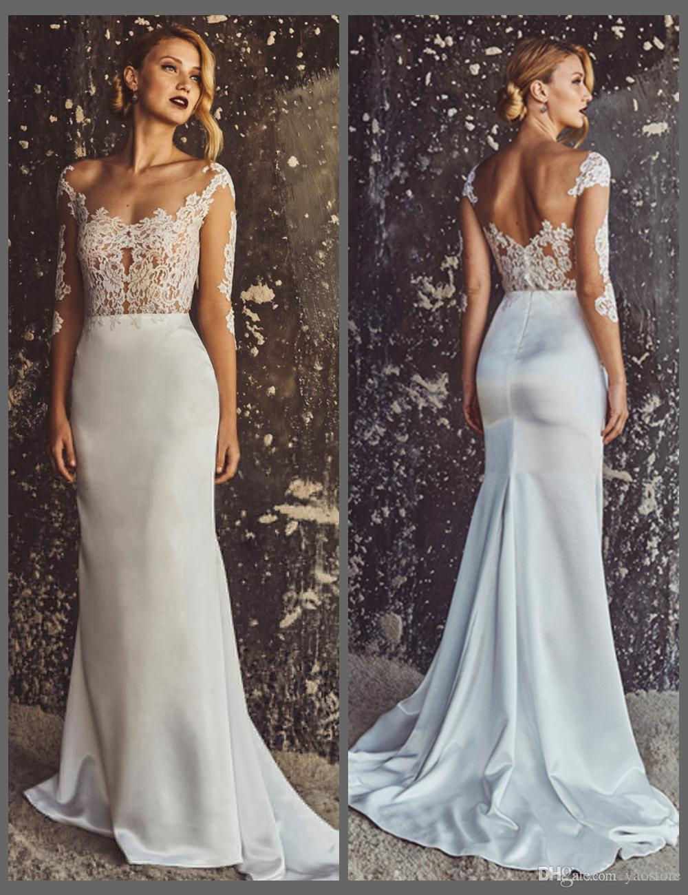Discount vintage chantilly lace mermaid wedding dresses for Chantilly lace wedding dress