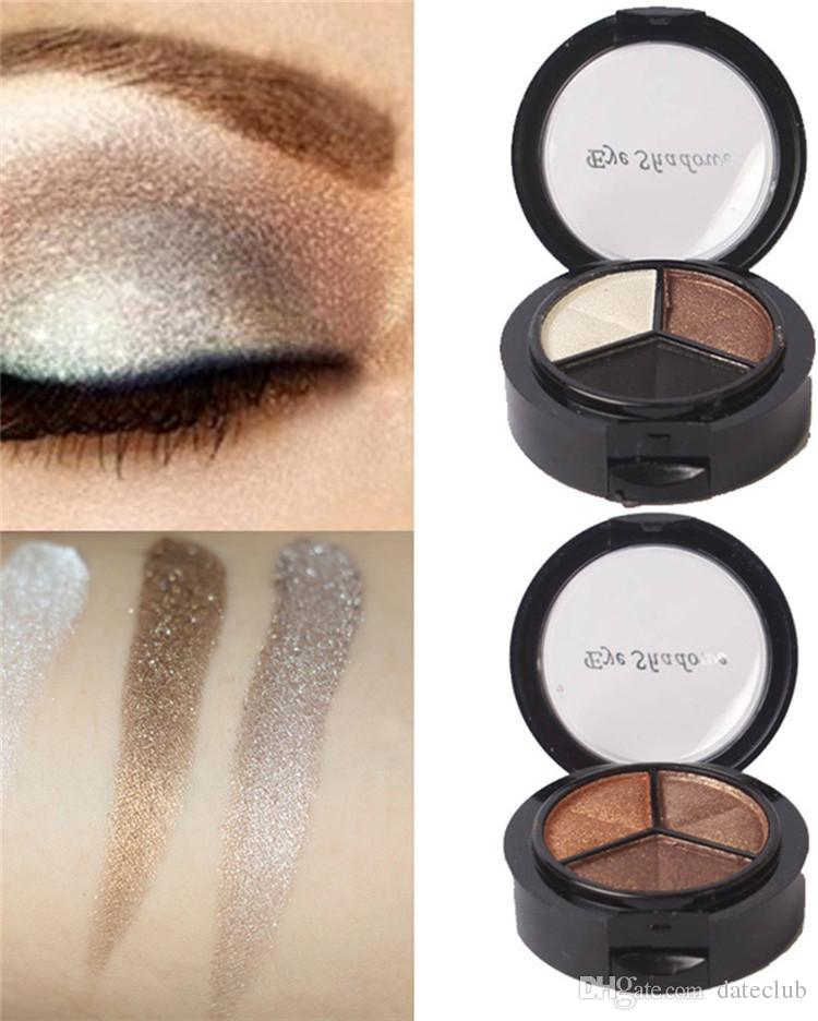 3 verschiedene Farben Professionelle Nude Lidschatten-Palette Make-up Matte Lidschatten-Palette Make-up Glitter Lidschatten