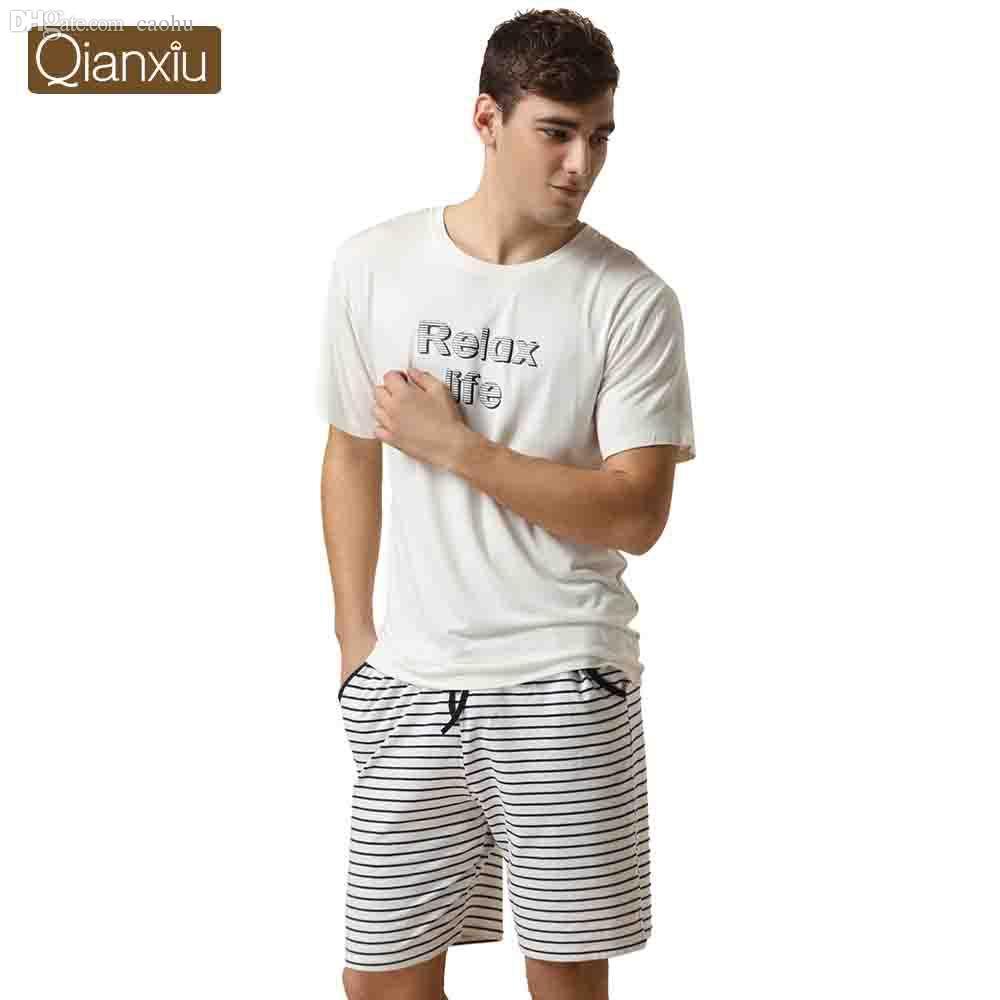 fa9aa56ab5 2018 Wholesale Qianxiu Brand Pijamas Casual Pajamas For Men Modal Sport  Pants Suit Couple Pyjamas Onesie From Caohu