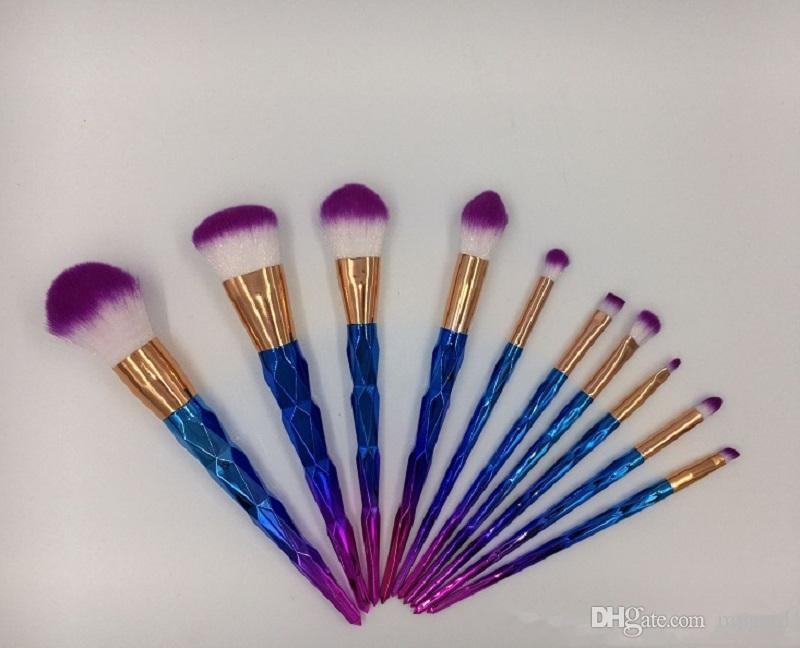 Makeup Brushes set Unicorn Diamond blue pink rose gold Professional foundation eyeshadow blusher Multipurpose Make up Brush