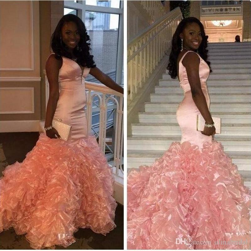 982574adfd04d Peach Pink Mermaid Prom Dresses 2016 with Cascading Ruffles V Neck Back  zipper Black girl Dress custom made Formal Evening Gowns