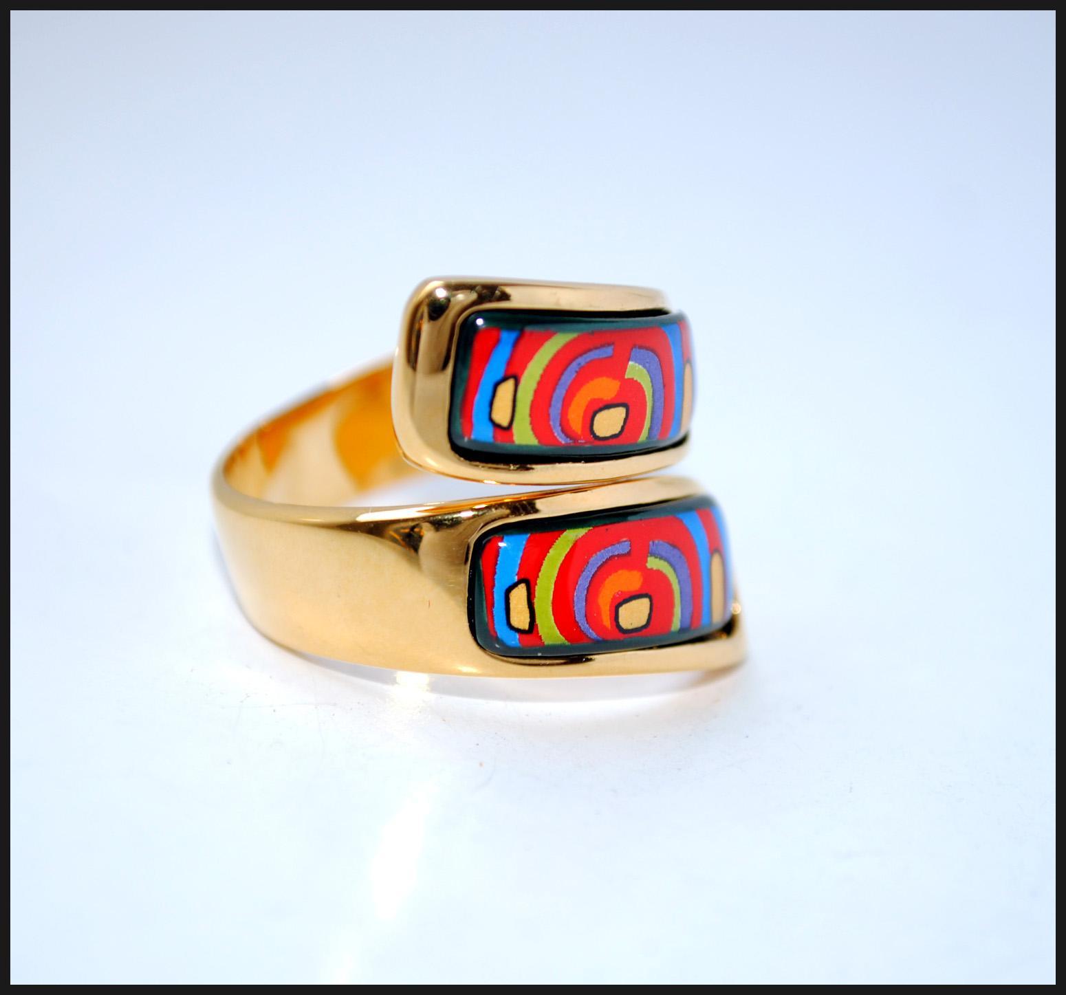 Serie del ciclo de vida 18K anillo doble curvado esmalte dorado Anillo de calidad superior para anillos de banda de mujeres para regalo
