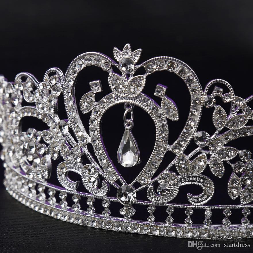 Lüks taç Kristal Gelin Tiara Elmas Takı Düğün Taçlar Hairband Bayanlar Için Tiaras Ucuz Düğün Saç Aksesuarları