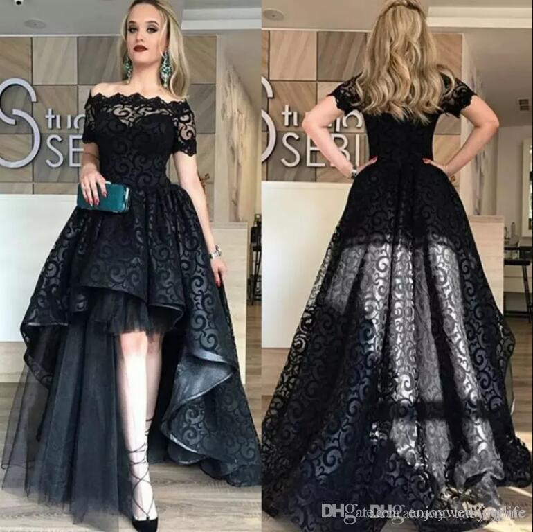 Elegant Black Sexy High Low Long Prom Dresses 2018 Off The Shoulder