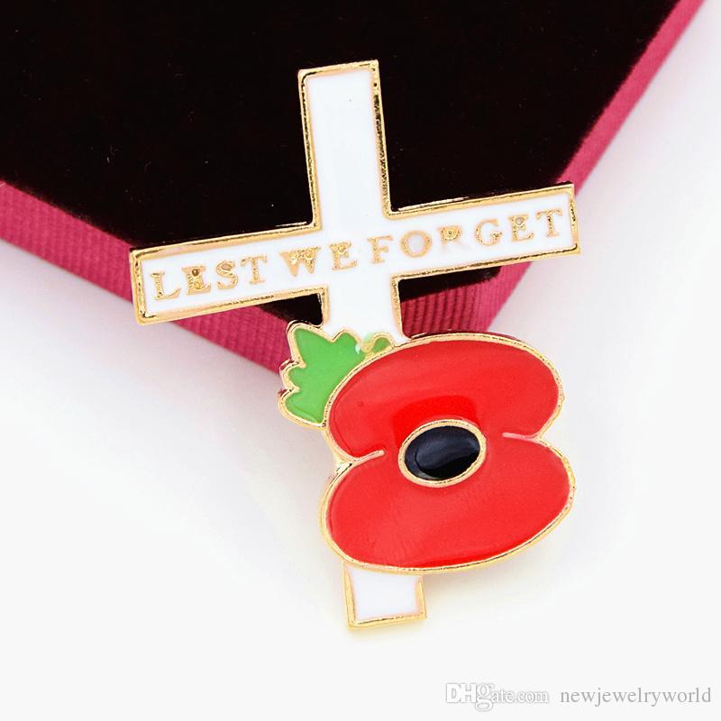 Chapado en oro esmalte de amapola y broche cruzado Reino Unido recuerdo día de moda broche de recuerdo para que no olvidemos el camafeo Broche Pins elegante