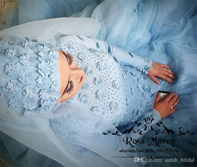 Light Blue Islamic Hijab 3D Floral Wedding Dresses 2018 Ball Gown High Neck Long Sleeves Beaded Plus Size Country Kaftan Abayas Bridal Gowns