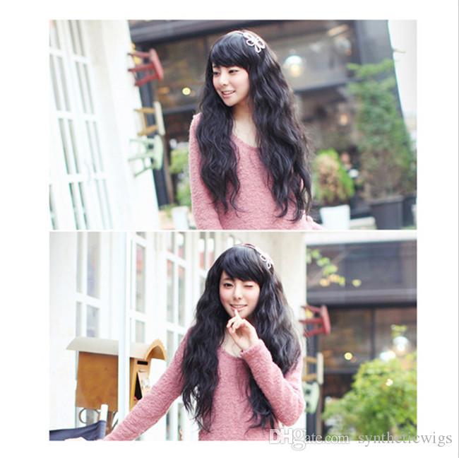 WoodFestival fluffy corn curly wig women girls fiber hair wigs long black brown synthetic wigs heat resistent oblique bangs cheap