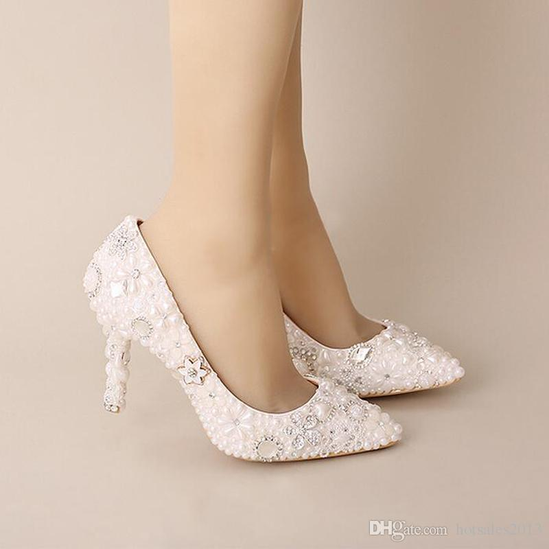 Pink Wedding Shoes Pointed Toe Formal Dress Shoes Pearl Rhinestone Bridal Shoes Women High Heels Mother of The Bride Shoes