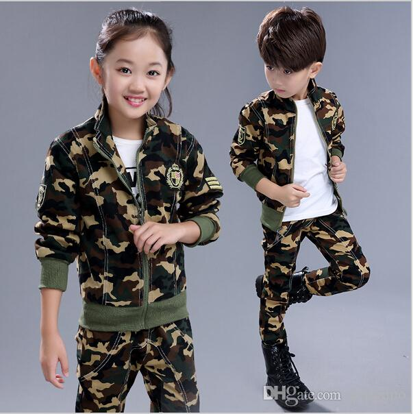 9cbb48f9f19 2019 European Style Children Camouflage Clothing Set 2018 Spring Fall Boys  Girls Fashion Cotton Military Uniform Kids Sport Suit From Gengduo