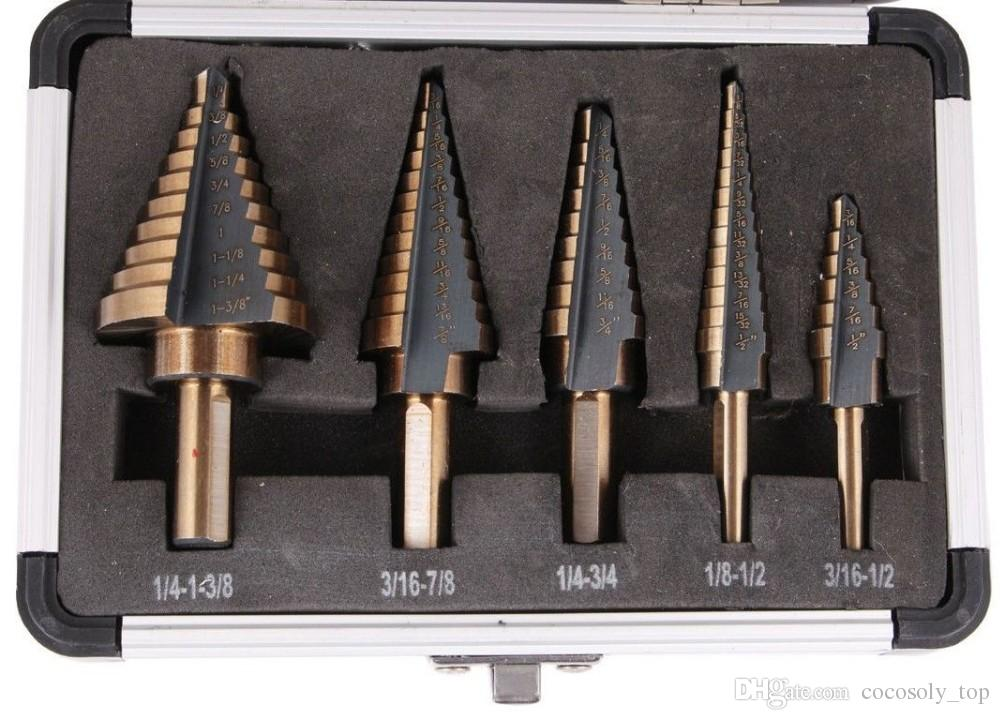 Arrival High Quality HSS COBALT MULTIPLE HOLE 50 Sizes STEP DRILL BIT SET w / Aluminum Case