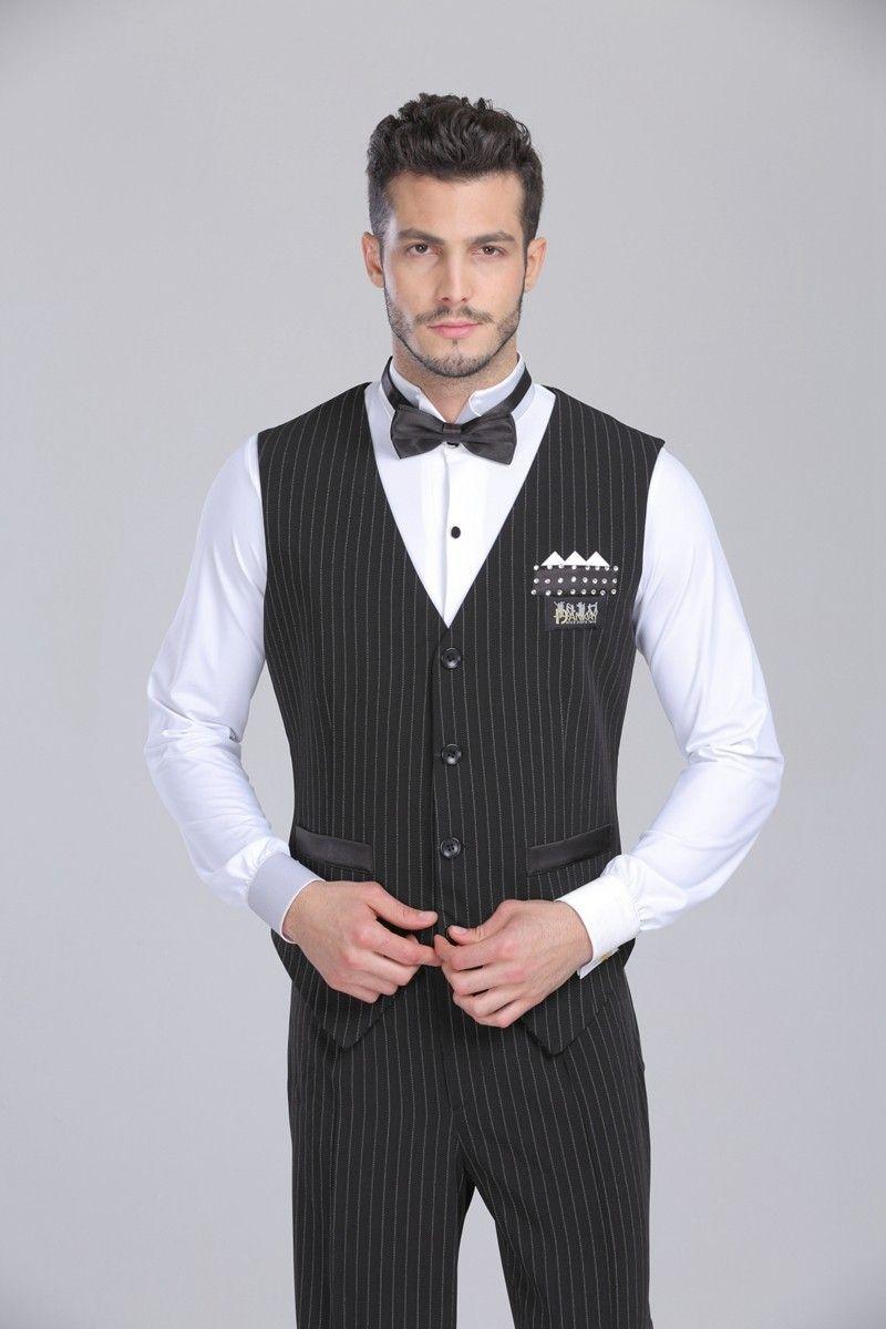 2016 Hombre Ballroom Dance Shirt Negro Dance Top Triangle Chaleco para hombre Salón de baile Ropa Latina / Tango / Waltz / Fox-Trot Vestido Salón de baile