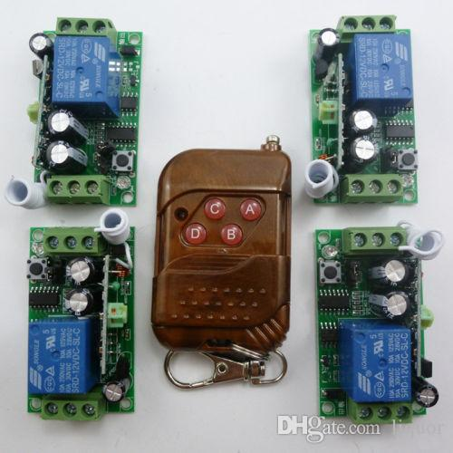 1PCS Wireless Key Fob 4PCS DC12V 1 Chanel Receiver Relay Modules 433.92MHZ