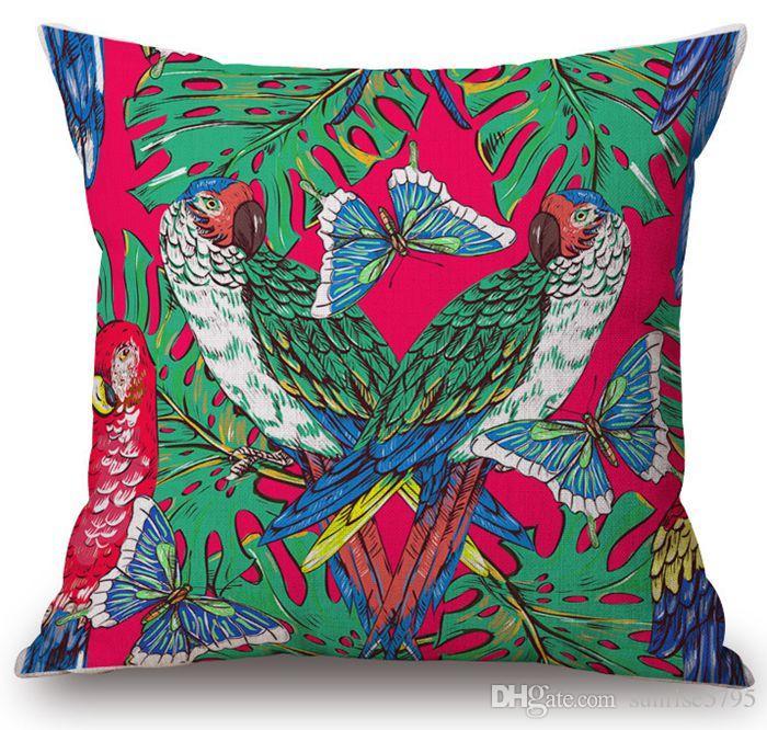 тропической наволочка тропического леса растений cojines джунгли птица almofada листьев декор дома бросить наволочку современного украшения