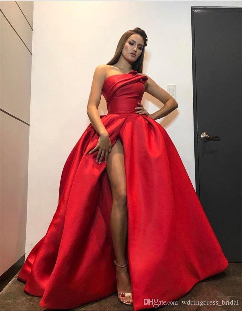 New Fashion Red Plus Size Abendkleider 2019 Sexy High Split Liebsten Ballkleid Abendkleid Backless Bodenlangen Celebrity Pageant Kleider