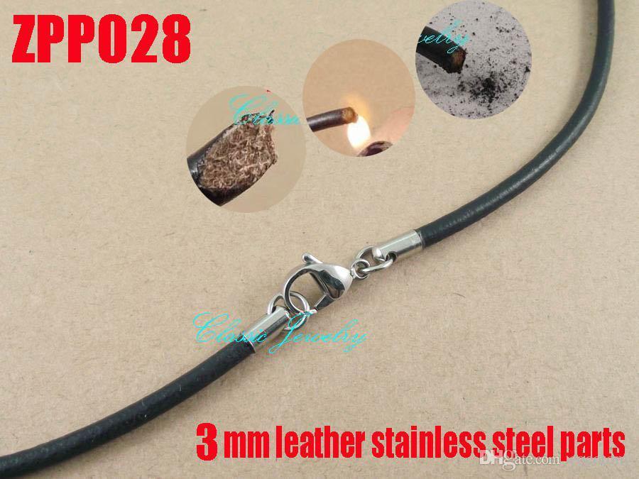Kunafir venda quente 3mm 14-32 polegada de couro preto real colar de aço inoxidável acessórios de jóias diy barato moda cadeia dos homens 20 pçs / lote zpp028