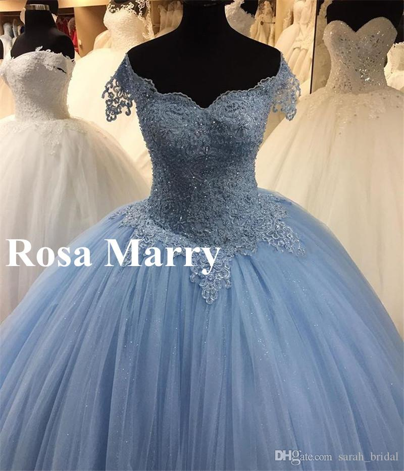 Light Blue Lace Sweet 16 Quinceanera Dresses 2018 Ball Gown Off ...