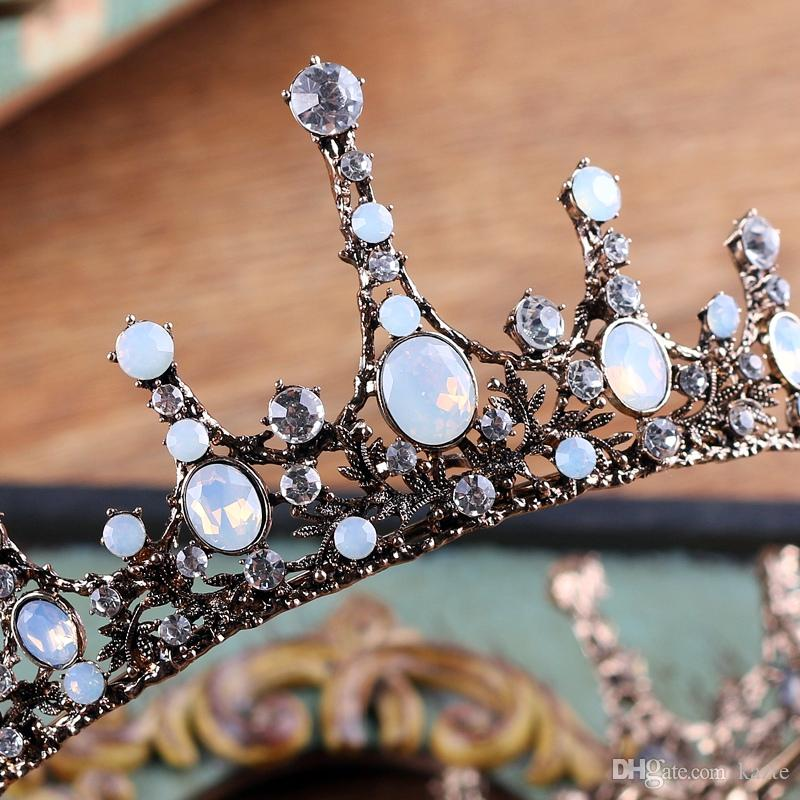 Accessori capelli da sposa Gioielli Barocco Grande Completo da sposa bianco con strass King Queen Crown Prom Pageant Sposa Tiara Crowns