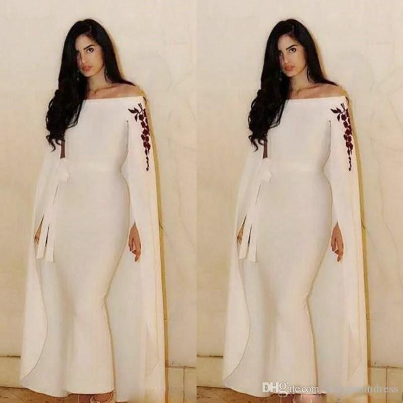 0787fe0d28b1 Saudi Arabia Cape Style Evening Gowns Mermaid Ankle Length Prom Dresses  With Ribbon Sash Embroidery On Shoulder Formal Party Dress Evening Formal  Dress ...