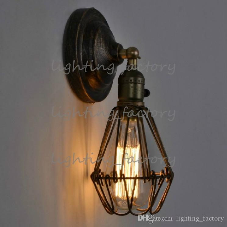 Edison Vintage Wall Light Chandeliers Rustic Wire Cage Hanging Wall Light Industrial Cage Light bedroom corridor aisle wall lamp