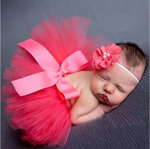 Newborn Photography Props Sweet Design Photo Props with Headband Baby Infant Costume Outfit Princess Tutu Skirt Summer Dress
