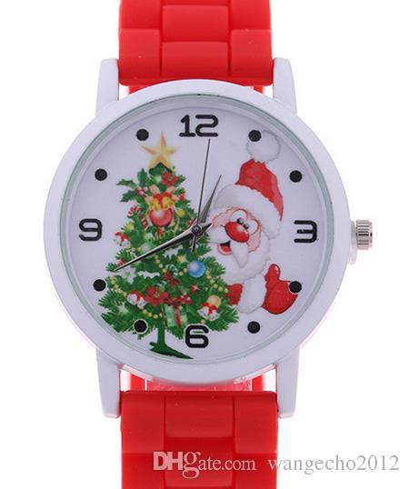La más nueva fábrica al por mayor de silicona de dibujos animados correa de goma de silicona reloj de Navidad para niñas regalo de año nuevo envío gratis