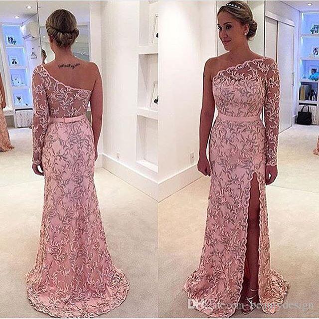 Pink Lace Long Sleeve Pattern Dresses Evening Wear 2017 One-Shoulder Sheer See-through Split Floor Length Celebrity Prom Dress