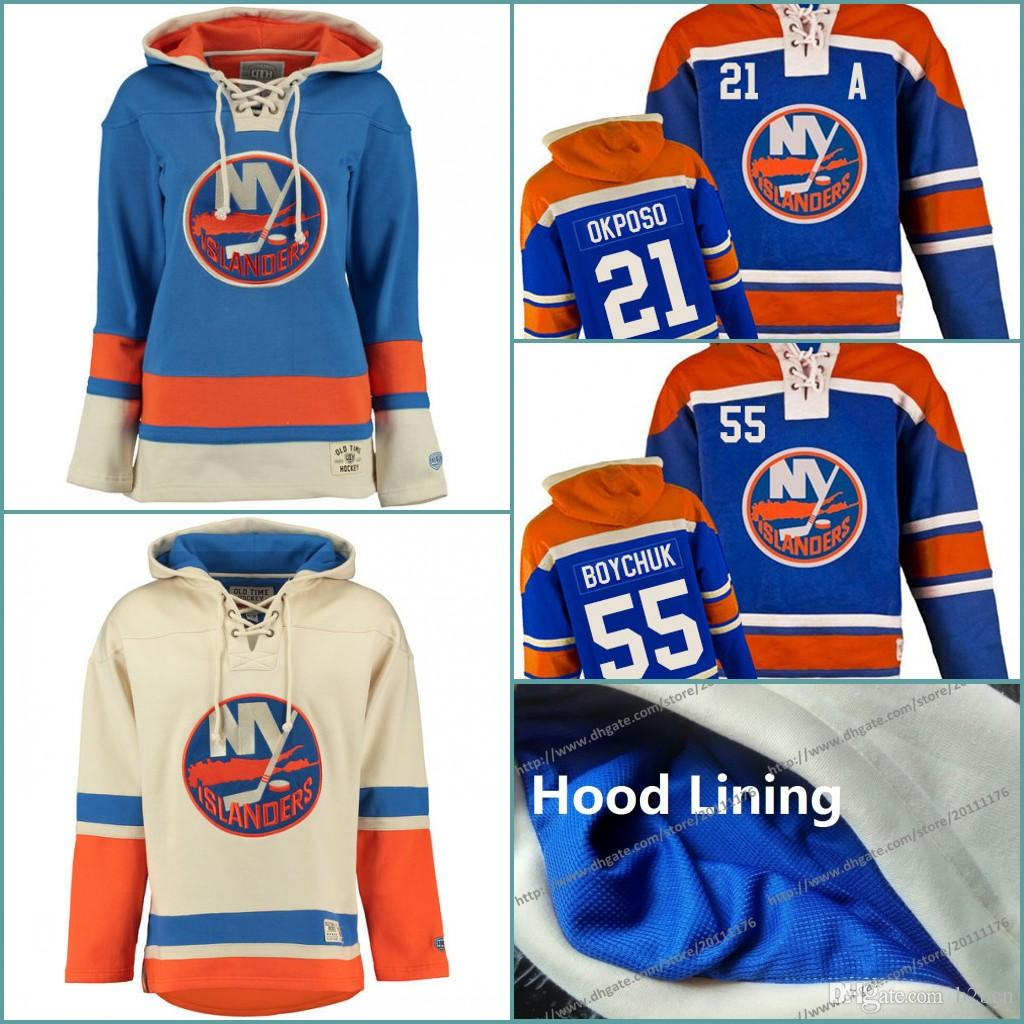 more photos f3a93 00f7d Mens Personalized Sweatshirts New York Islanders Custom Hockey Jersey  Hoodie Stitched Name Number Winter Blue Cream Customized Hoodies