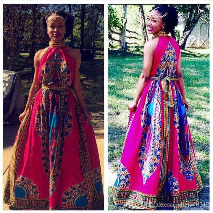 0b919a420c109 2017 African Clothing Women Maxi Dress Women Bazin Riche Red Dashiki Dress  Off Shoulder Halter Long Robe Vintage Fabric Boho Dress Plus Size Cocktail  ...