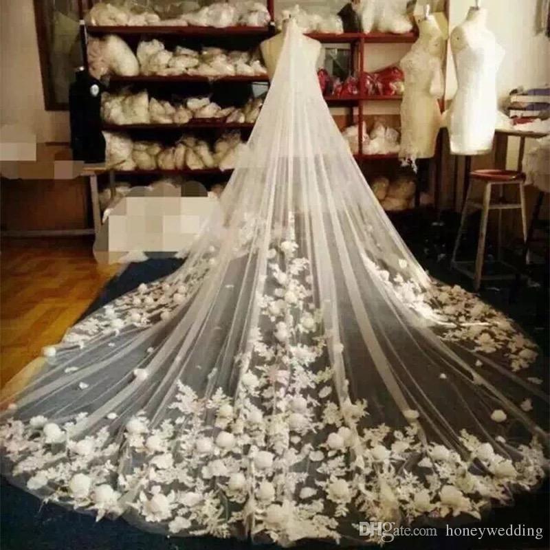 고급 대성당 웨딩 베일 빗 하나의 레이어 꽃 Appliqus 긴 신부 베일 맞춤형 3m 긴 3m 와이드 신부 액세서리 만들기