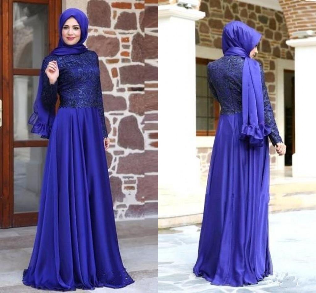 Vestidos de noche musulmanes modestos con mangas largas Vestido de fiesta mangas largas Vestido de fiesta azul real de gasa con cordones