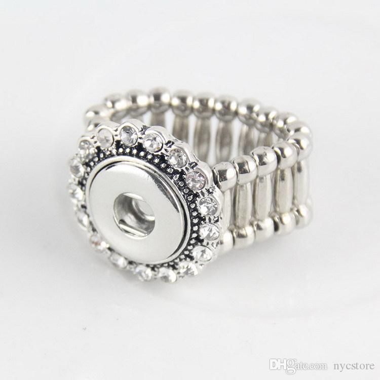 Mix Elastic Rhinestone Styles Metal Charm 12mm Ginger Snap Button Rings For women DIY Snap Button Jewelry
