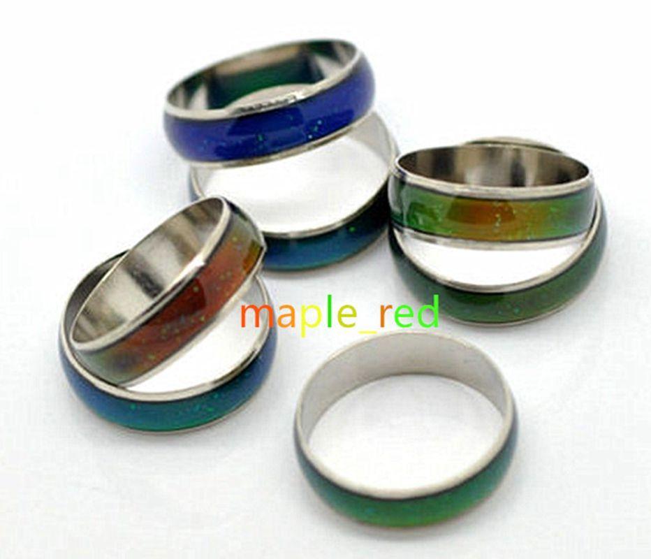 Großhandel 50 Teile / los Veränderbar Farben Stimmung Ringe Frauen / Männer Hotsale Temperaturänderung Emotion Gefühl Band Ring