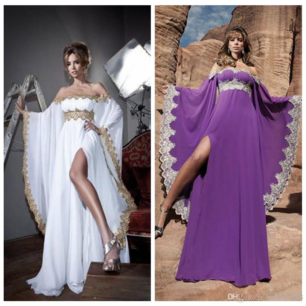 Arabic Style White Long Evening Dresses Beaded Lace Kaftan Dress ...