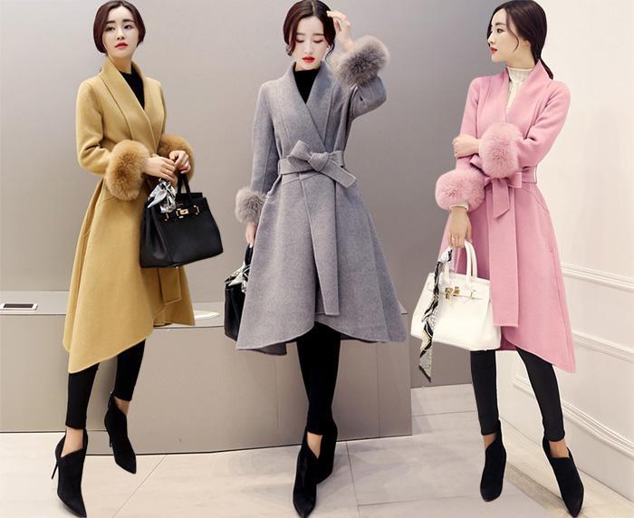 elegant korean women fur sleeves slim long wool coats plus size
