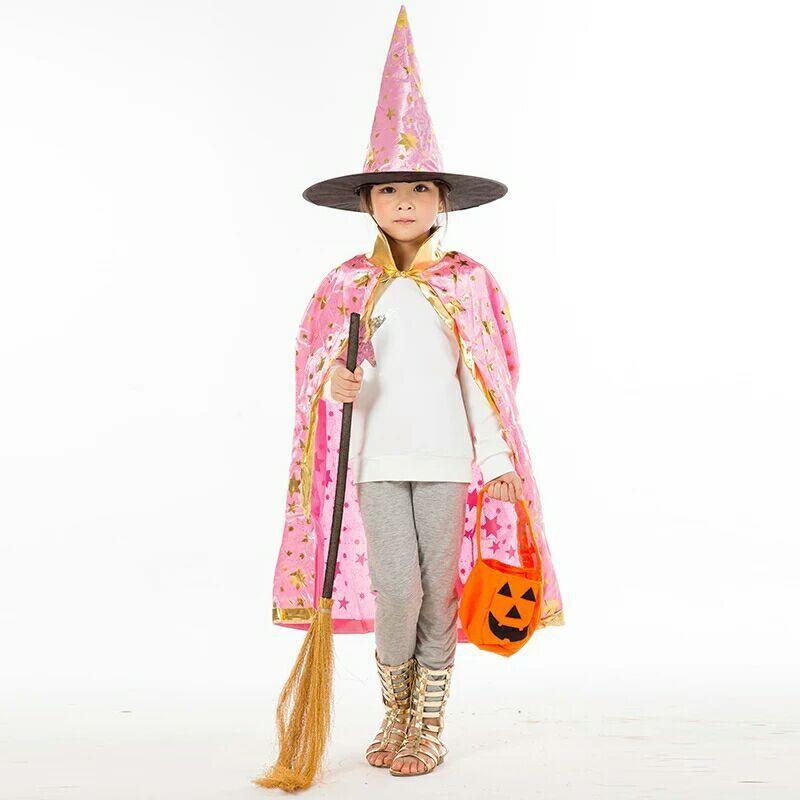 Niños disfraces de Halloween Witch Wizard Canto Capa de bata y Sombrero Cap Stars Fancy para niños Niños Chicas envío gratis