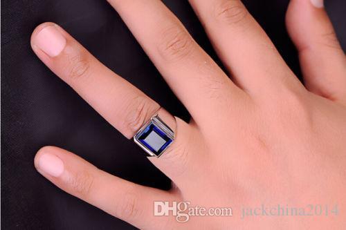 Виктория Wieck мужчины мода ювелирные изделия пасьянс 10ct Синий сапфир 925 стерлингового серебра имитация Алмаз обручальное кольцо палец кольцо подарок Size8-13