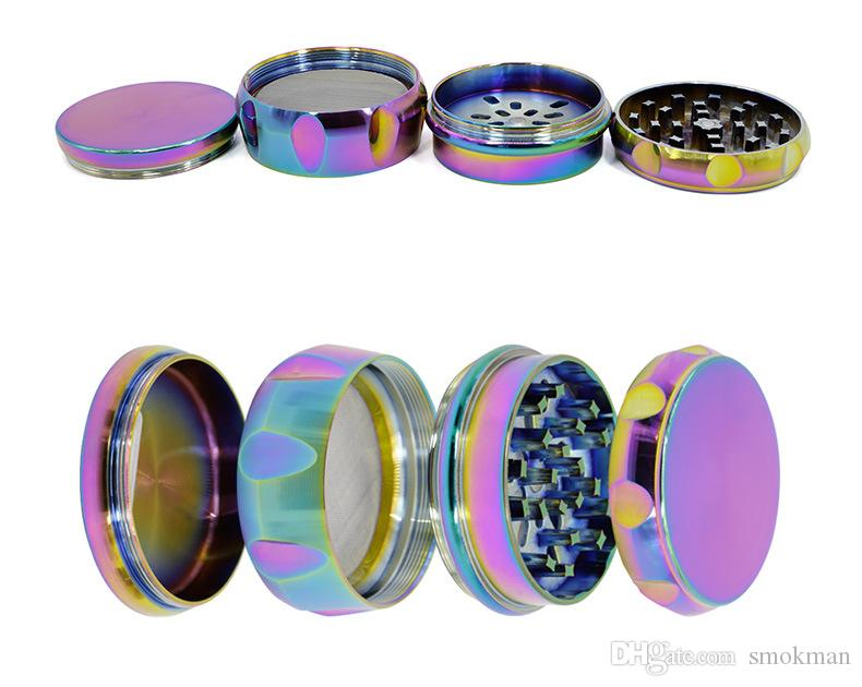drum type grinders rainbow color 4 layers 63mm diameter herb grinder zinc alloy metal oem logo