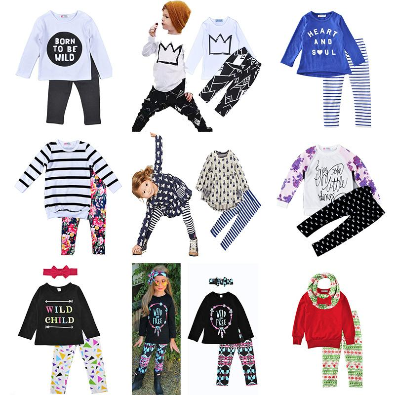18ff69de Kids' Clothing Sets Long Sleeve Shirts Print Boys And Girls Casual ...