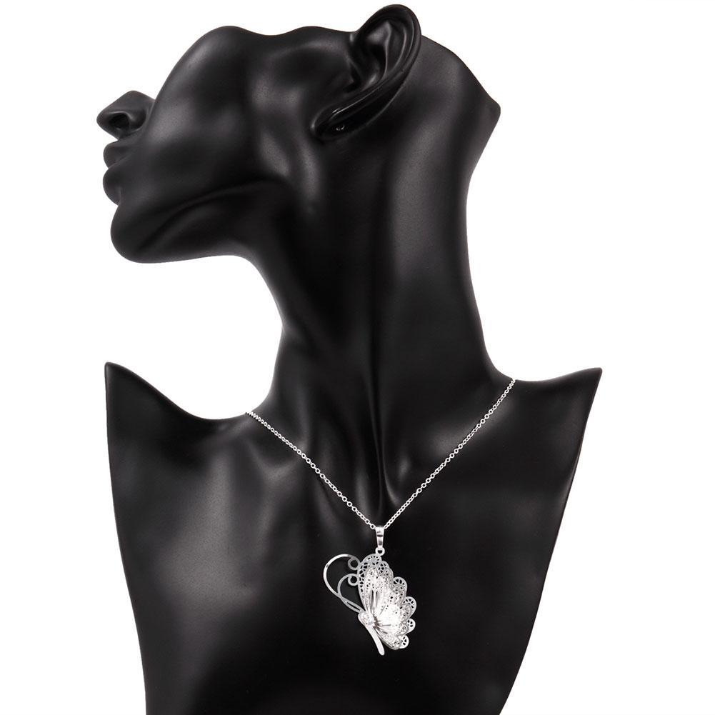 Belle petite papillon animaux pendentifs breloque colliers chaînes chakra 925 argent pur n753 cadeaux Noël Halloween 2016 nouveaux bijoux