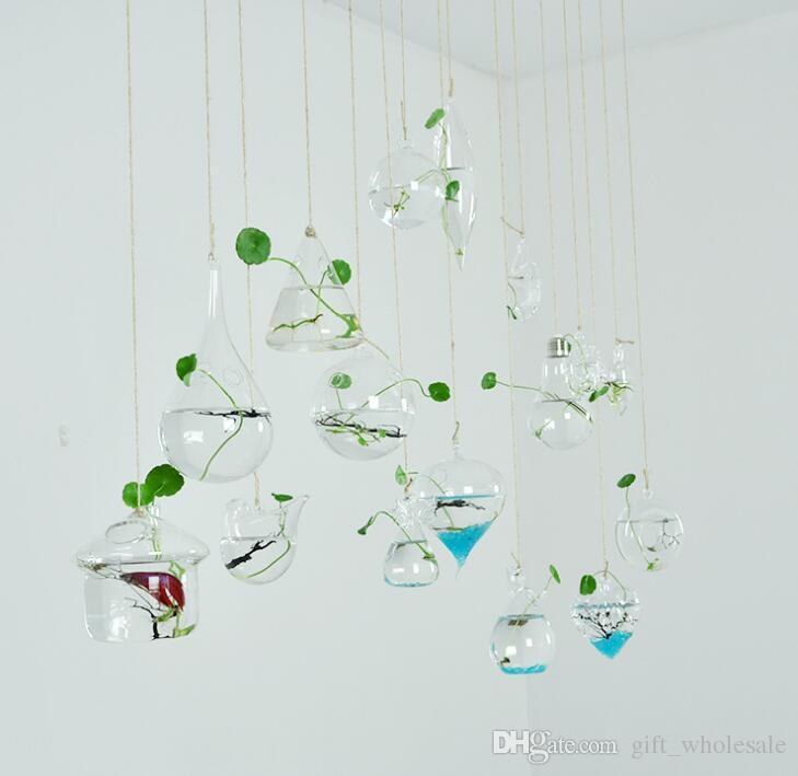 Light bulb heart shape 18 styles glass hanging terrarium/bulb vases,air plant succulent terrarium for home decor,green gifts including rope