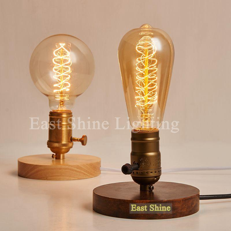 Bon 2018 2015 New Vintage Wood Table Lamps Industrial Table Light Bedroom  Bedside Lamp Bar Abajur Light Fixtures Luminaire From Mvplight, $125.93 |  Dhgate.Com