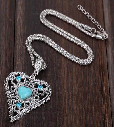 Vintage Kadınlar Aşk Kalp Doğal Turkuaz Kristal Kolye Tasarım Tibet Gümüş Zincir Kolye Takı Lady Kolye Kolye Aksesuarları