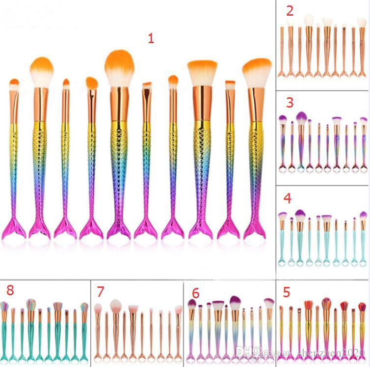 10 stücke Meerjungfrau Pinsel Regenbogen Make-Up Pinsel Set Creme Gesicht Power Pinsel Kits Mehrzweck Schönheit Regenbogen Kosmetik Pinsel Kits 2017