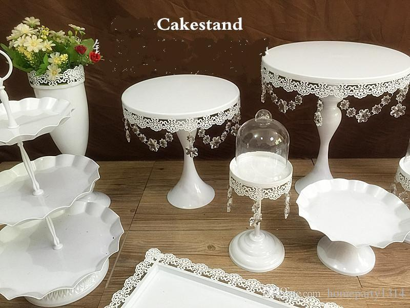 2016 New hot sale snow white crystal wedding cake stand wedding table flower vase dessert table decor cake candy fruit plate / set