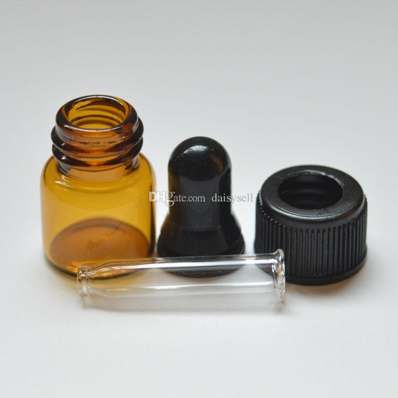 Mini bottiglia di vetro vuota profumo di olio essenziale Campione Piccolo portatile 1ml flacone di vetro con gocce d'ambra