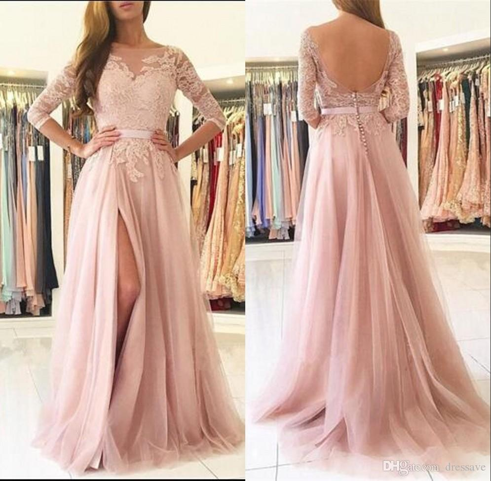 3fdbaf0a82c Lace Half Long Sleeve Prom Dresses 2018 Pink A Line Elegant Evening Gowns  High Split Formal Party Dresses Genealogy Prom Dresses Grecian Style Prom  Dresses ...