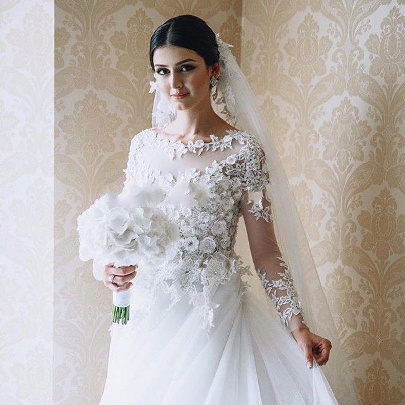 Exquisite Spitze-lange Hülsen-Blumenhochzeits-Kleider Sheer Tüll-Zug-plus Größen-Ball 2018 Kundenspezifisches formales Brautkleid-Arabisch Vestido de Novia