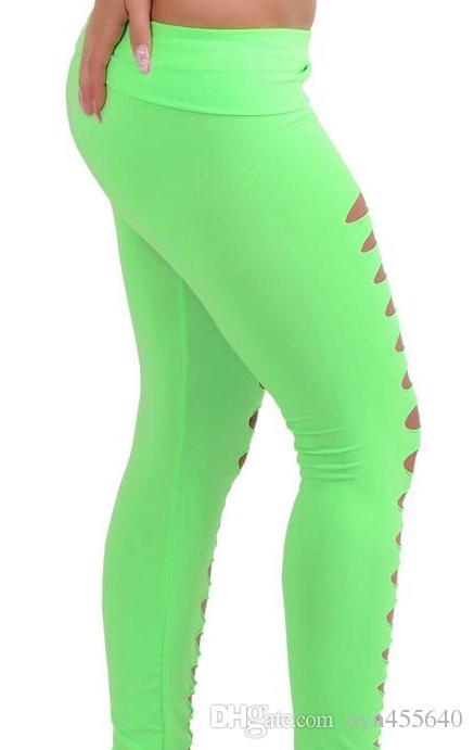 Sexy das mulheres Hot Hole Skinny Doce Cor Stretchy Pants calças justas Leggings